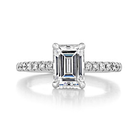 1.50 ct Emerald Cut Hidden Halo Platinum Engagement Ring (CR19EC)
