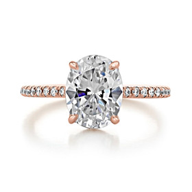 2.00 Ct. Oval Shaped Rose Gold Micro-Prong Engagement Ring (EV160OV)