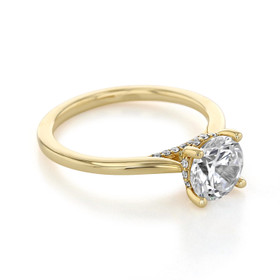 14K Yellow Gold Solitaire Moissanite Engagement Ring (FG87-CU7M)