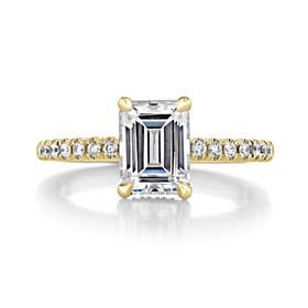 1.50 ct Emerald Cut Hidden Halo Yellow Gold Engagement Ring (CR19EC-YG)