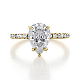2 ct Pear Shape Hidden Halo Yellow Gold Engagement Ring (CR199-YG)