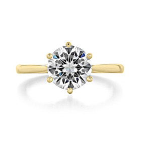 2 ct Round 6-Prong Solitaire Yellow Gold Engagement Ring (EV117L-YG)