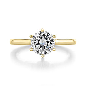 1.25 ct Round 6-Prong Solitaire Yellow Gold Engagement Ring (EV17-YG)