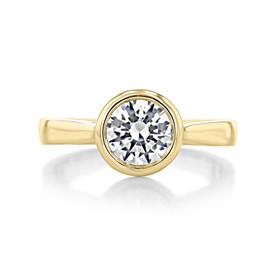 1 ct Round Bezel Solitaire Yellow Gold Engagement Ring (SO49-YG)