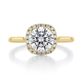 1.50 ct Round Halo Solitaire Yellow Gold Engagement Ring (EV14-SO-YG)