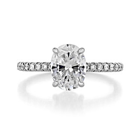 2.26 Ct. Oval Lab Cultivated Diamond w/ 14K White Gold Micro-Prong Engagement Ring (CR160OV)