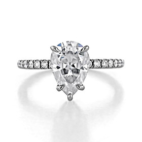 2 ct Pear Shape Hidden Halo Platinum Engagement Ring (CR199-PL)