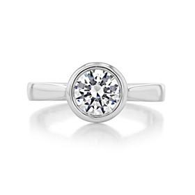 1 ct Round Bezel Solitaire Platinum Engagement Ring (SO49-PL)