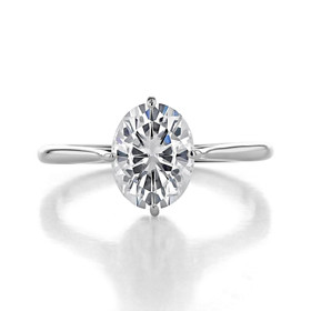 1 ct Oval Solitaire Platinum Engagement Ring (SO70-PL)
