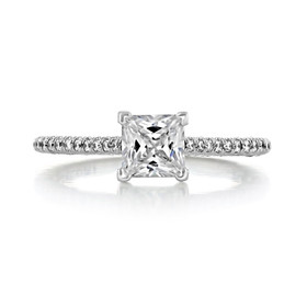 .75 Tacori Petite Crescent White Gold Engagement Ring (HT254615PR5)