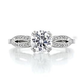 1 ct Tacori Ribbon White Gold Engagement Ring (2573SMRD65)