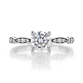 1 ct Tacori Sculpted Crescent White Gold Engagement Ring (46-2RD65)