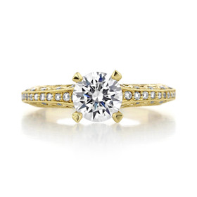 1 ct Tacori Classic Crescent Yellow Gold Engagement Ring (2616RD65)