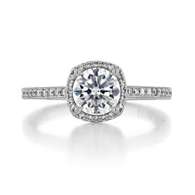 1 ct Tacori Sculpted Crescent White Gold Engagement Ring (49CUP65)