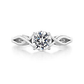 1 ct Tacori Sculpted Crescent White Gold Engagement Ring (51RD65)