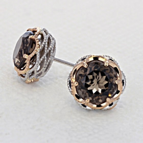 Crescent Crown Smokey Quartz Fashion Earrings  (SE105P17)