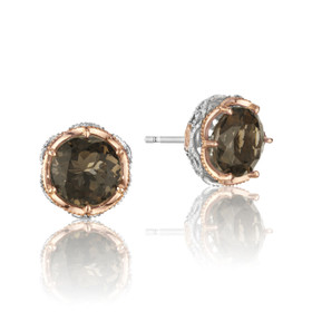 Crescent Crown Smokey Quartz Fashion Earrings  (SE105P17)