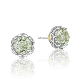 Crescent Crown Prasiolite Quartz Fashion Earrings  (SE10512)