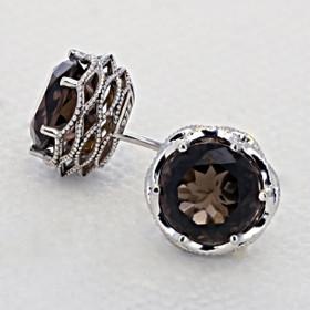 Crescent Crown Smokey Quartz Fashion Earrings  (SE10517)