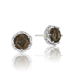 Crescent Crown Smokey Quartz Fashion Earrings  (SE10517)