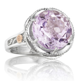 Crescent Crown Rose Amethyst Fashion Ring (SR12313)