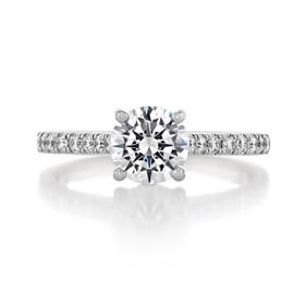 1 ct Round Micro-Prong White Gold Engagement Ring (AV19)