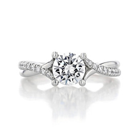 1 ct Round Micro-Prong Twist White Gold Engagement Ring (GC07)
