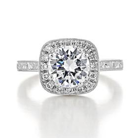 evertrue Engraved Halo Engagement Ring (EV58)