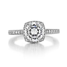 1.50 Ct. Round Moissanite Platinum Tacori Dantela Engagement Ring (2620RDMDP-M)