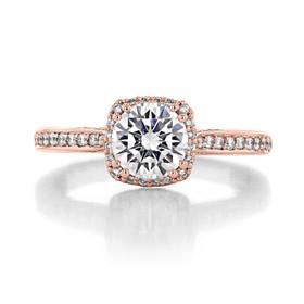1.00 Ct. Round Moissanite Tacori Dantela Rose Gold Engagement Ring (2620RDSMPPK-M)