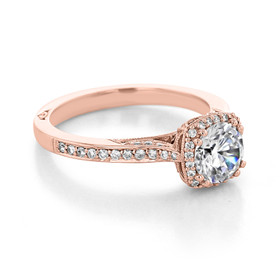 Tacori Dantela Rose Gold Moissanite Engagement Ring (2620RDSMPPK-M)