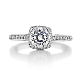 1.00 Ct. Round Moissanite Platinum Tacori Dantela Engagement Ring (2620RDSMP-M)