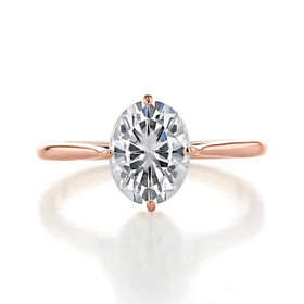 2.10 Ct. Oval Shape Moissanite  Rose Gold Solitaire Engagement Ring (SO70-MLR)