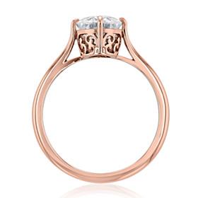 Rose Gold Moissanite Solitaire Engagement Ring (SO70-MLR)