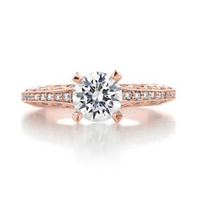 1.00 Ct. Round Moissanite Tacori Rose Gold Classic Crescent Engagement Ring (2616RD65PK-M)