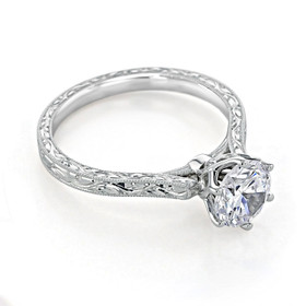 Engraved Solitaire Moissanite Engagement Ring  (EV8-M)
