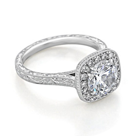 Engraved Moissanite Halo Engagement Ring (EV58-M)