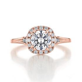 Rose Gold Halo Moissanite Engagement Ring (EV13-M)