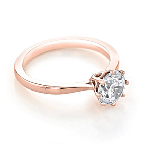 Rose Gold Solitaire Moissanite Engagement Ring (EV108-M)