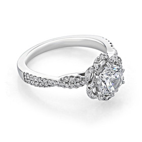 Floral Halo Moissanite Engagement Ring (FG528-M)