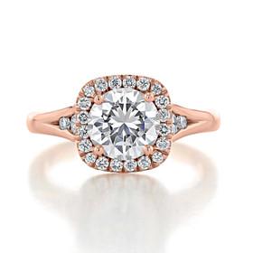 1.20 Ct. Round Moissanite Rose Gold Halo Engagement Ring (CR13-M)