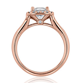Rose Gold Halo Moissanite Engagement Ring (CR13-M)