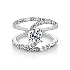 1 ct Round Gabriel Free Form White Gold Engagement Ring (GC42)