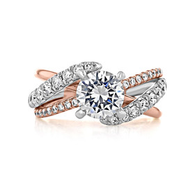 1.50 ct Round Gabriel Free Form Two-Tone Engagement Ring (GC28)
