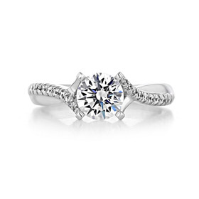 1 ct Round Gabriel Micro-Prong Twist White Gold Engagement Ring (GC63)