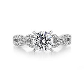 1.25 ct Round Gabriel Ribbon Micro-Prong White Gold Engagement Ring (GC48)