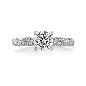1 ct Round Gabriel Twist Micro-Prong White Gold Engagement Ring (GC37)