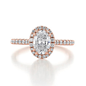 1 ct Oval Halo Rose Gold Engagement Ring (EV14-OV)