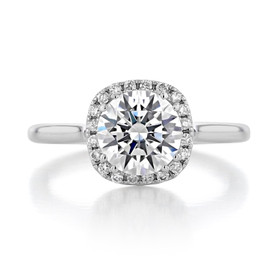1.50 ct Round Halo Solitaire White Gold Engagement Ring (EV14-SO)
