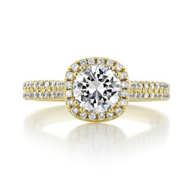 1 ct Round Halo Yellow Gold Halo Engagement Ring (EV105-Y)